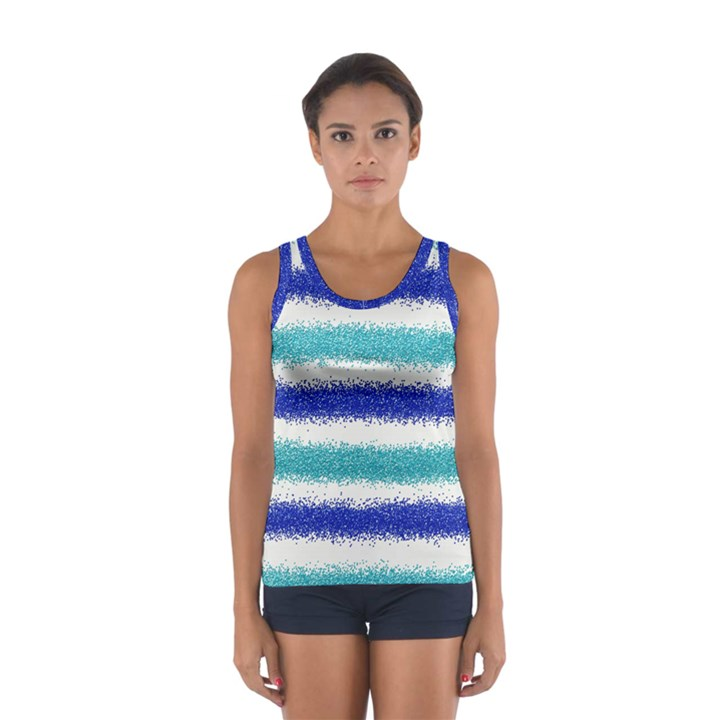 Metallic Blue Glitter Stripes Women s Sport Tank Top