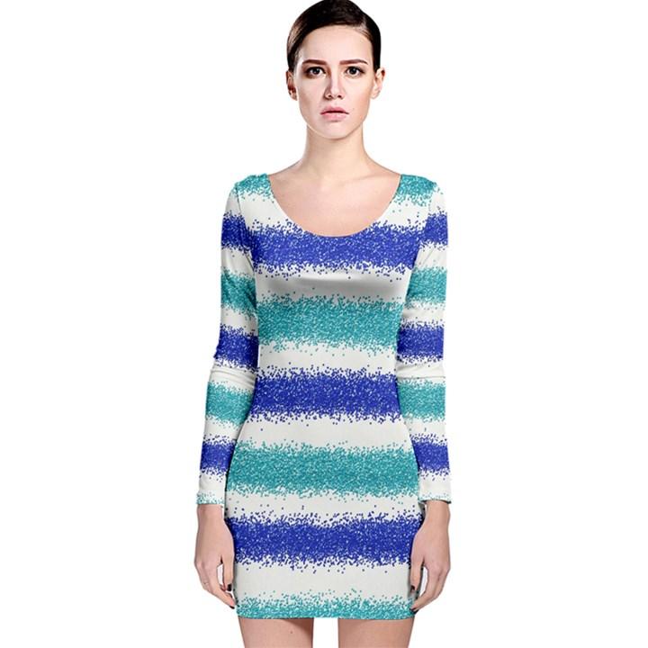 Metallic Blue Glitter Stripes Long Sleeve Velvet Bodycon Dress