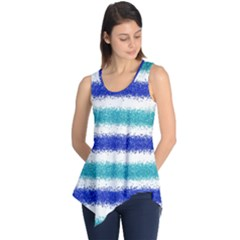Metallic Blue Glitter Stripes Sleeveless Tunic