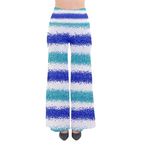 Metallic Blue Glitter Stripes Pants