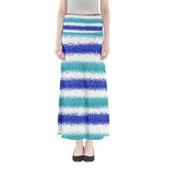 Metallic Blue Glitter Stripes Maxi Skirts