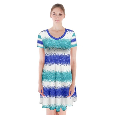 Metallic Blue Glitter Stripes Short Sleeve V-neck Flare Dress