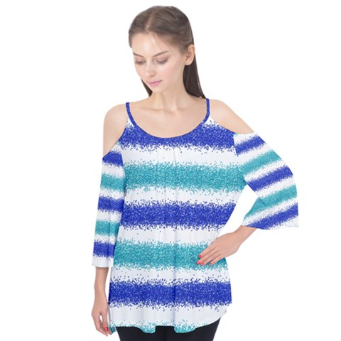 Metallic Blue Glitter Stripes Flutter Tees