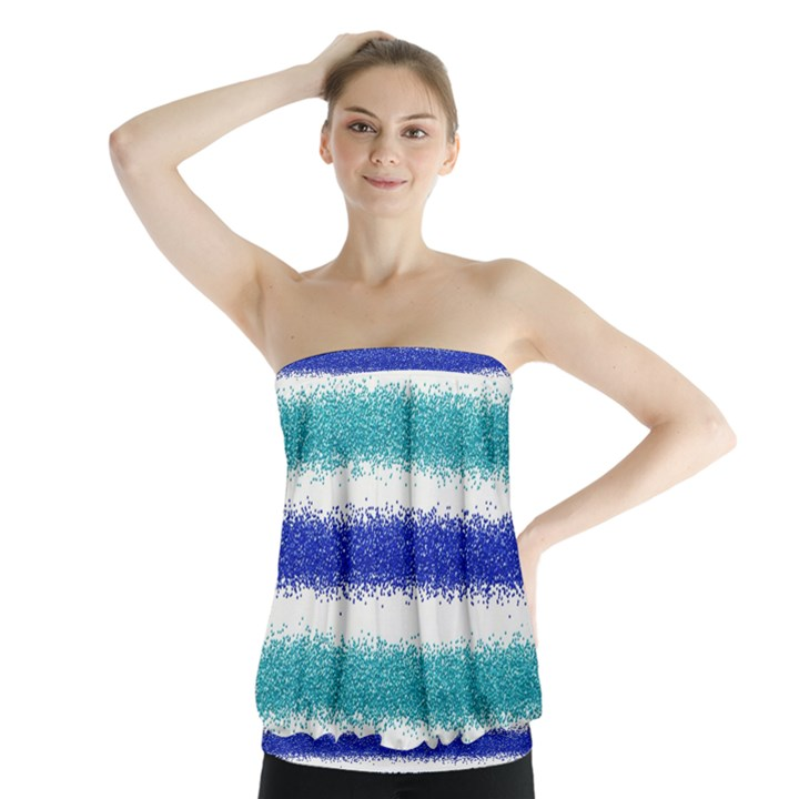Metallic Blue Glitter Stripes Strapless Top