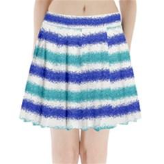 Metallic Blue Glitter Stripes Pleated Mini Skirt