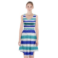 Metallic Blue Glitter Stripes Racerback Midi Dress