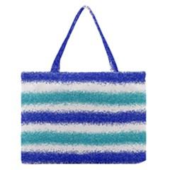 Metallic Blue Glitter Stripes Medium Zipper Tote Bag