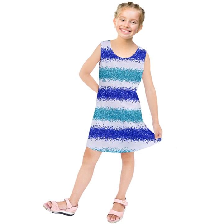 Metallic Blue Glitter Stripes Kids  Tunic Dress