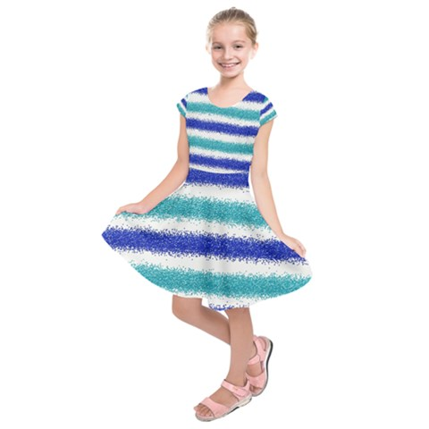 Metallic Blue Glitter Stripes Kids  Short Sleeve Dress