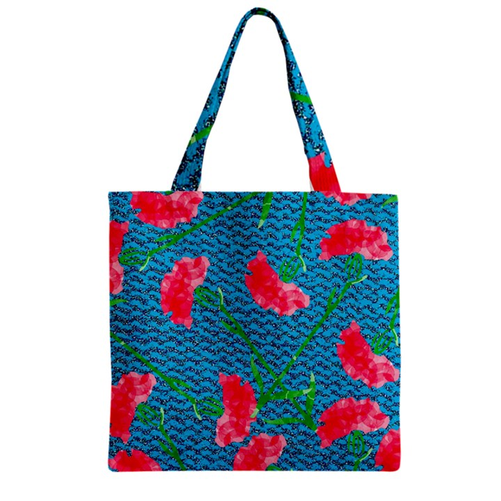 Carnations Zipper Grocery Tote Bag