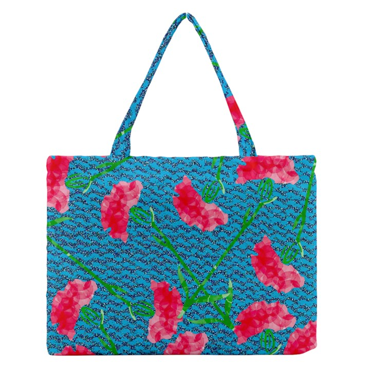 Carnations Medium Zipper Tote Bag