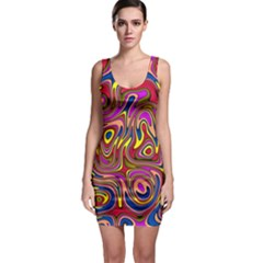 Abstract Shimmering Multicolor Swirly Sleeveless Bodycon Dress