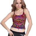 Abstract Shimmering Multicolor Swirly Spaghetti Strap Bra Top View1