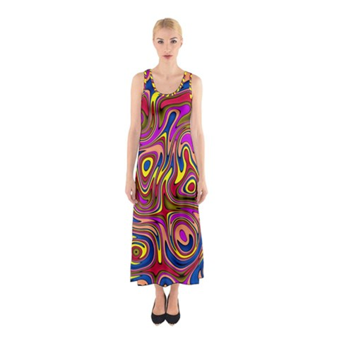 Abstract Shimmering Multicolor Swirly Sleeveless Maxi Dress