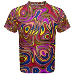 Abstract Shimmering Multicolor Swirly Men s Cotton Tee