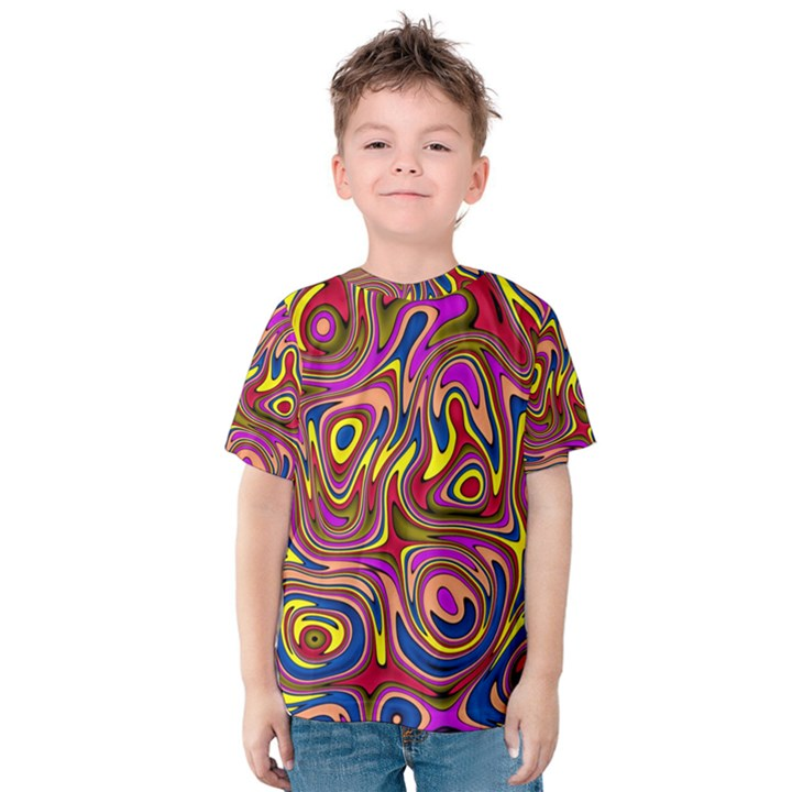 Abstract Shimmering Multicolor Swirly Kids  Cotton Tee