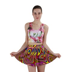 Abstract Shimmering Multicolor Swirly Mini Skirt