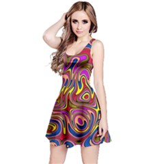 Abstract Shimmering Multicolor Swirly Reversible Sleeveless Dress