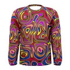 Abstract Shimmering Multicolor Swirly Men s Long Sleeve Tee