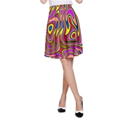 Abstract Shimmering Multicolor Swirly A Line Skirt