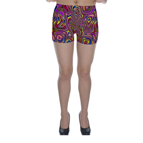 Abstract Shimmering Multicolor Swirly Skinny Shorts