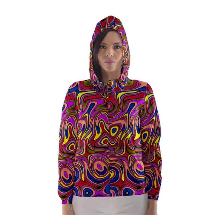 Abstract Shimmering Multicolor Swirly Hooded Wind Breaker (Women)