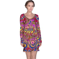 Abstract Shimmering Multicolor Swirly Long Sleeve Nightdress