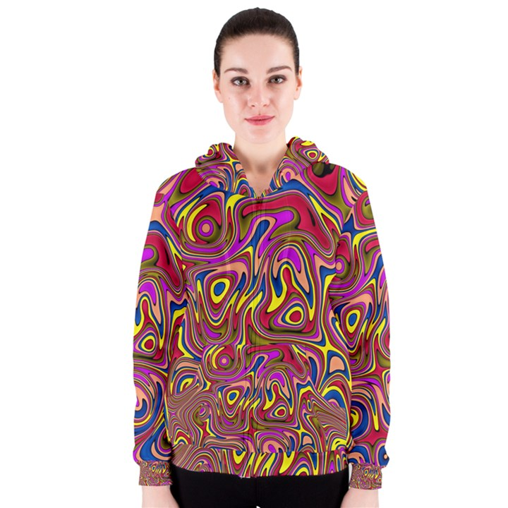 Abstract Shimmering Multicolor Swirly Women s Zipper Hoodie