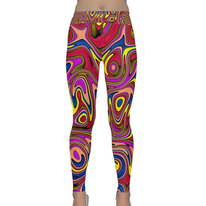Abstract Shimmering Multicolor Swirly Yoga Leggings