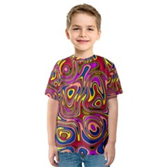 Abstract Shimmering Multicolor Swirly Kids  Sport Mesh Tee