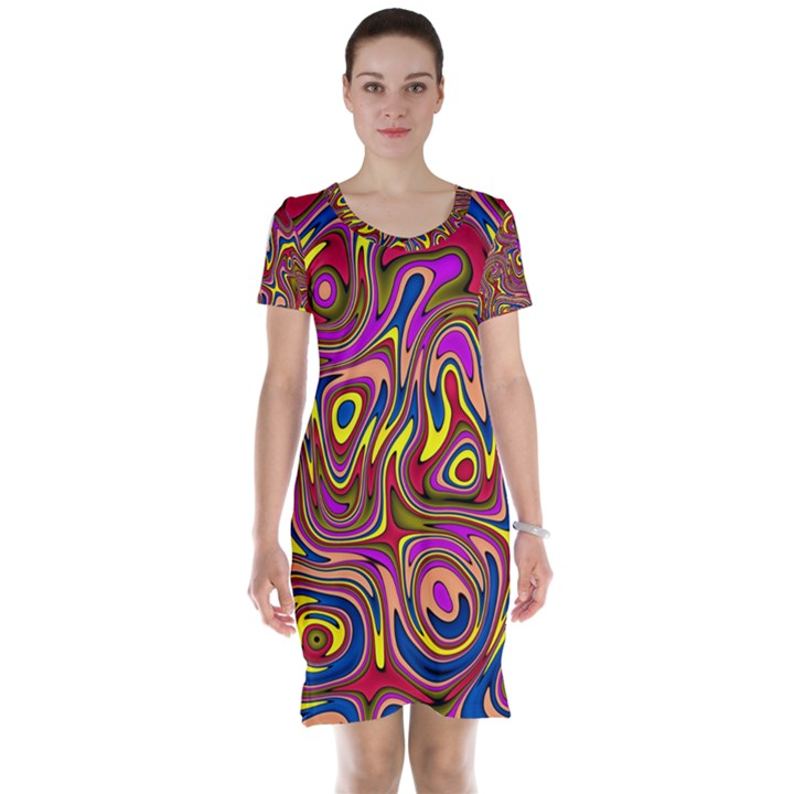 Abstract Shimmering Multicolor Swirly Short Sleeve Nightdress