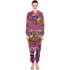 Abstract Shimmering Multicolor Swirly Hooded Jumpsuit (Ladies)
