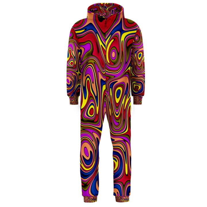 Abstract Shimmering Multicolor Swirly Hooded Jumpsuit (Men)