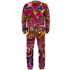 Abstract Shimmering Multicolor Swirly OnePiece Jumpsuit (Men)