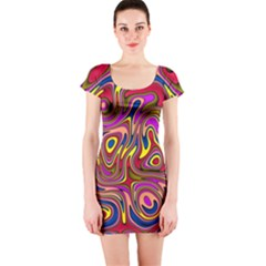 Abstract Shimmering Multicolor Swirly Short Sleeve Bodycon Dress