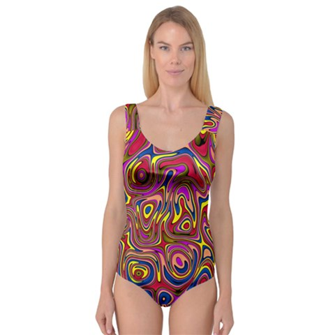 Abstract Shimmering Multicolor Swirly Princess Tank Leotard