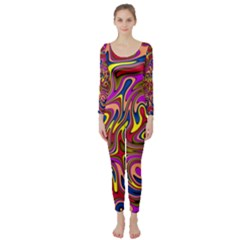 Abstract Shimmering Multicolor Swirly Long Sleeve Catsuit