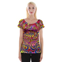 Abstract Shimmering Multicolor Swirly Women s Cap Sleeve Top