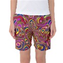 Abstract Shimmering Multicolor Swirly Women s Basketball Shorts View1