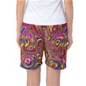 Abstract Shimmering Multicolor Swirly Women s Basketball Shorts View2