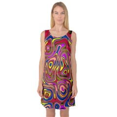 Abstract Shimmering Multicolor Swirly Sleeveless Satin Nightdress