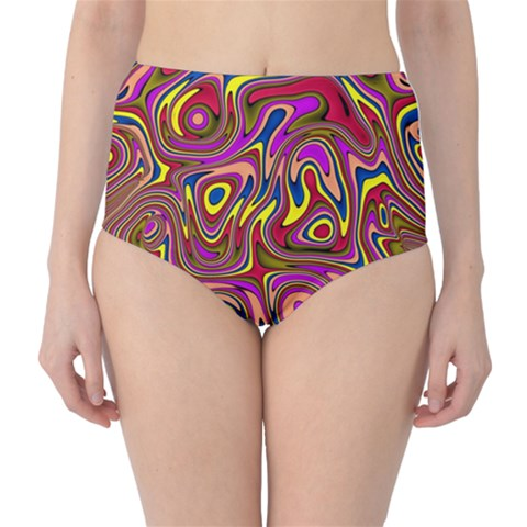 Abstract Shimmering Multicolor Swirly High-Waist Bikini Bottoms