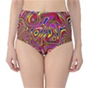Abstract Shimmering Multicolor Swirly High-Waist Bikini Bottoms View1