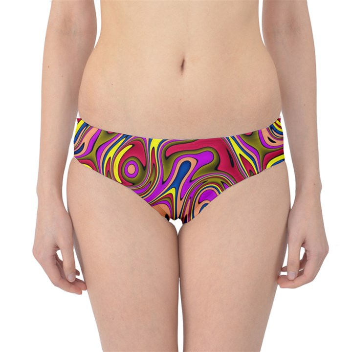 Abstract Shimmering Multicolor Swirly Hipster Bikini Bottoms