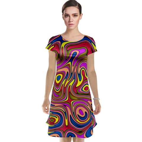 Abstract Shimmering Multicolor Swirly Cap Sleeve Nightdress