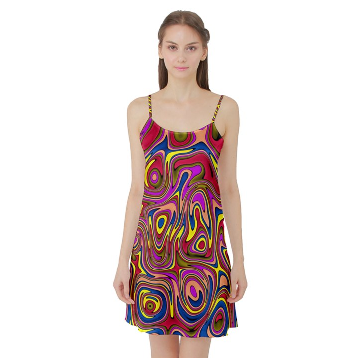 Abstract Shimmering Multicolor Swirly Satin Night Slip