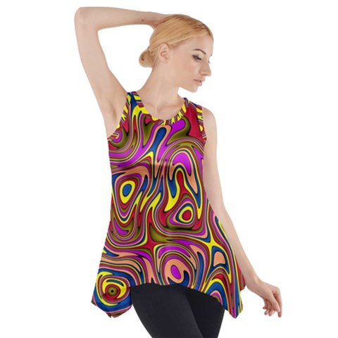 Abstract Shimmering Multicolor Swirly Side Drop Tank Tunic