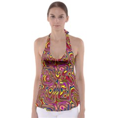 Abstract Shimmering Multicolor Swirly Babydoll Tankini Top