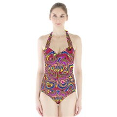 Abstract Shimmering Multicolor Swirly Halter Swimsuit