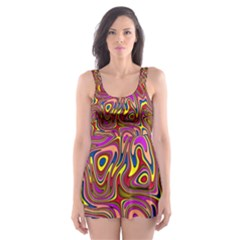 Abstract Shimmering Multicolor Swirly Skater Dress Swimsuit